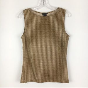 Vintage The Limited Gold Brown Houndstooth Tank M